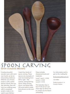 Spoon Carving Class in Harpswell Maine